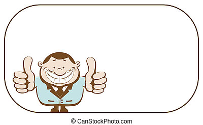 Smiling businessman with copy space showing thumbs up. Vector illustration
