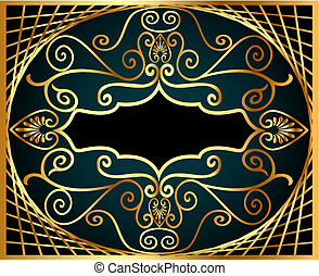 frame with gold(en) antique pattern and net
