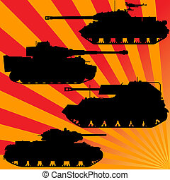 Rays and military equipment - Silhouettes of military...