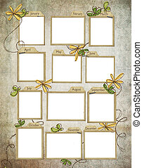 Monthly note cards on texture background with glittery...