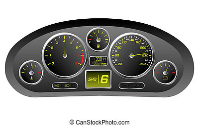 Sports car dashboard with kmh, rev and other gauges