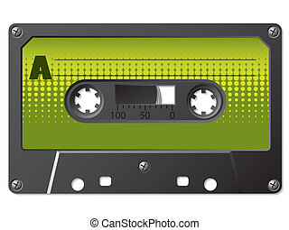 Green halftone labeled cassette - Vintage cassette with...