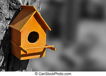 orange bird house in a black and white environment