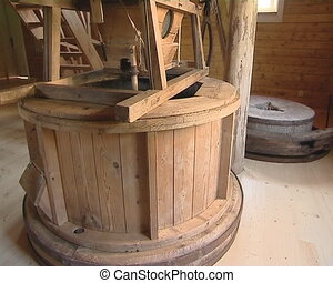 Old mill equipment. Breadstuffs making technology.