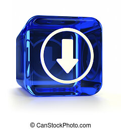 Blue Download Icon - Blue glass download computer icon. Part...