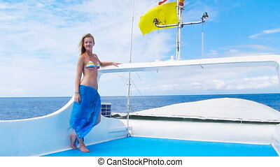 beauty girl on the boat