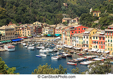 Aerial view on Portofino - Aerial view on small harbor and...