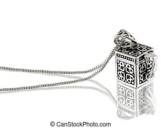 silver pendant wiht chain isolated on white background