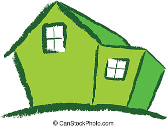 Green House - A Colourful Green Modern House Vector...