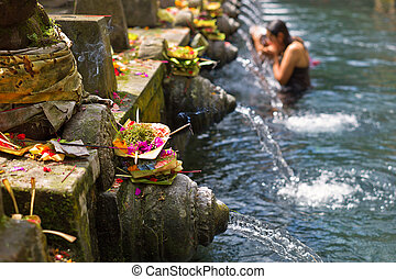 Puru Tirtha Empul Temple purifying pools in Bali, Indonesia