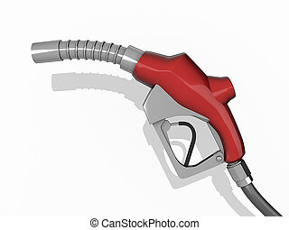 Gas Pump nozzle on a white background.