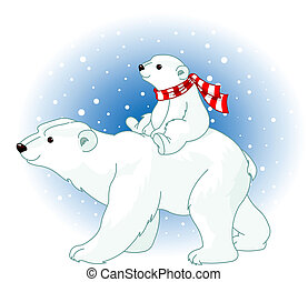 Polar Bear mom and baby - Polar Bear mom and baby riding on...
