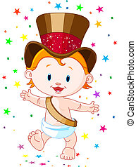 New Year baby - Cute baby New Year with top hat