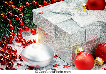 Christmas gift box with festive decoration