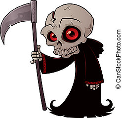 Little Grim Reaper - Vector cartoon illustration of a little...