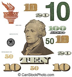 10 $ banknote, photo dollar bill elements isolated on white...