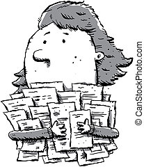 Paperwork - A cartoon woman clutches a large pile of...