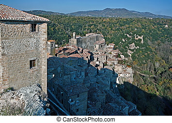 Sorano - Citta del tufo - the old town seen from the...