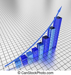 Business financial graph - Illustration of a glass graph...