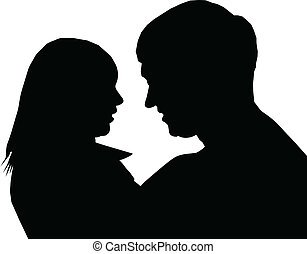 Silhouette of the enamoured - Silhouette enamoured, a...