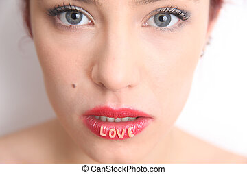 Lovely lips - Blue eyed woman with love on her lips