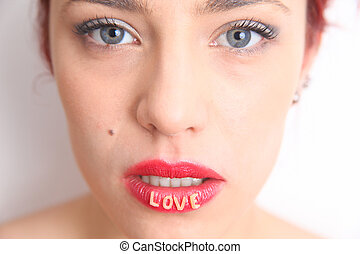 Lovely lips - Woman with LOVE lips