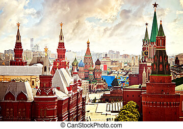 Aerial Kremlin view in Moscow, Red Square