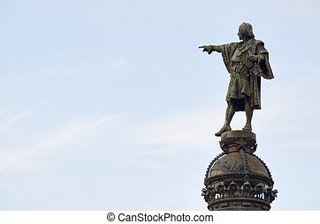 Colon - discoverer Christopher Columbus statue in Barcelona,...
