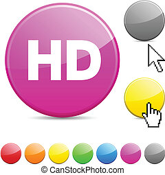HD glossy button. - HD glossy vibrant round icon.