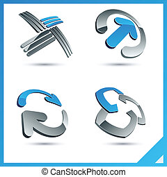 Blue 3d company signs. - Set of vector business blue 3d...