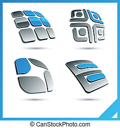 Blue 3d company signs - Set of vector business blue 3d signs...