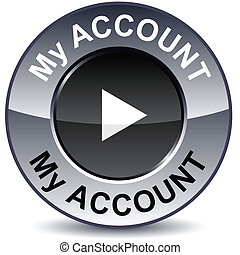 My account round button - My account round metallic button...