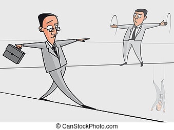 Businessmen on the tightrope - Illustration Businessmen on...