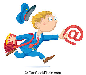 Email - Running postman with mail bag and message