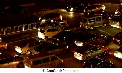 Many cars on road,traffic jam at night.