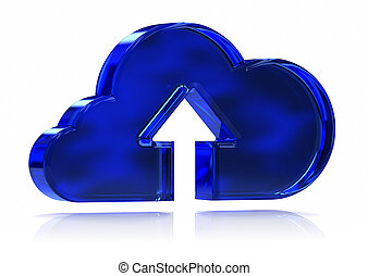 Blue Cloud Submit - Blue glass cloud with upload arrow...