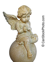 Angel Boy - Isolated Angel Boy sculpture sitting over a ball