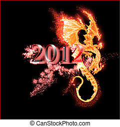 burning dragon and 2012 year isolated