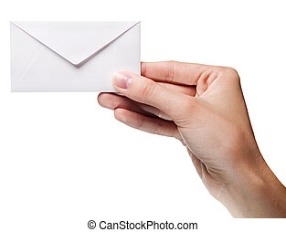 womans hand holding closed envelope isolated