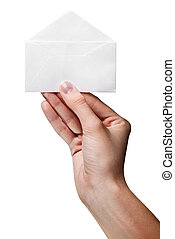 womans hand holding opened envelope isolated