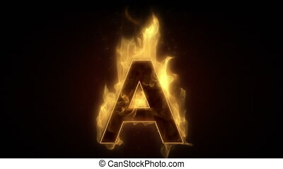 Fiery letter A  burning in loop wit