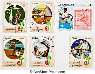 CUBA CIRCA1982: a set of sports-themed stamps on a white...