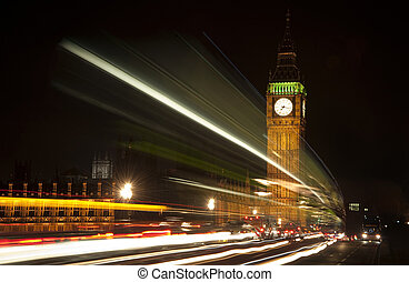 Long exposure lights from traffic Big Ben London at night -...