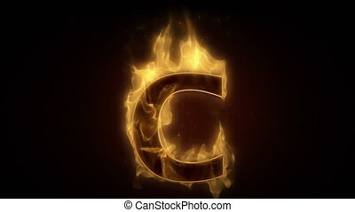 Fiery letter C  burning in loop with particles