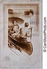 Vintage Post Card of Couple in Boat - This is a turn of the...