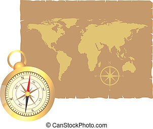 compass and map - gold compass and old map over old paper...