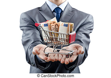 compras, carrito, Lleno, dinero