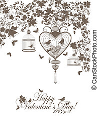 Valentine postcard - Stylish valentine background with...