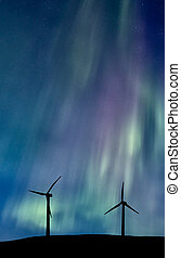Wind Farm And Northern Lights Aurora Borealis Canada