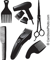 Hair set - A set of tools for hairdressers Vector...